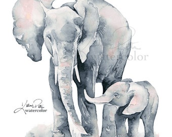 Elephant Baby, PRINT Silver and Blush Pink Elephant Mom and Baby watercolor print, nursery art by Katrina Pete