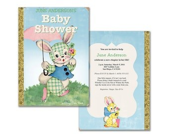 Bunny book baby shower Invitation / printable invitation / gender neutral / storybook themed shower / editable PDF, add your own text