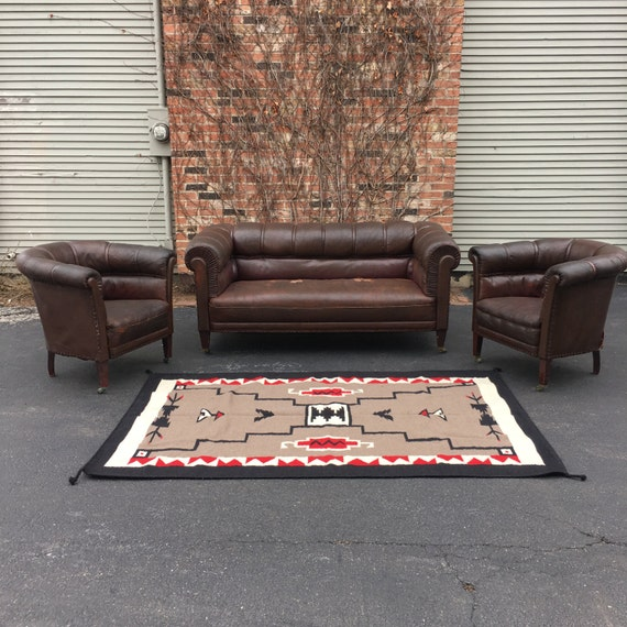 1920s Leather Club Chairs And Matching Sofa By Scoutandforge