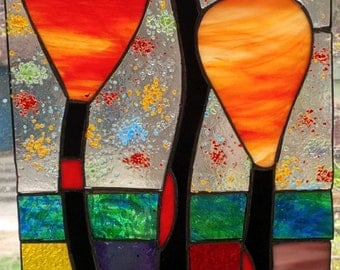 Hundertwasser inspired stained glass window