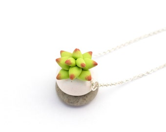 Handmade Cactus Polymer Clay Jewelry Necklace: Succulent in Prickly Pear