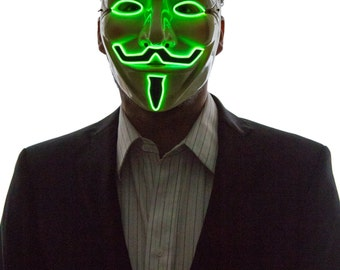 Glowing V for Vendetta, Guy Fawkes Mask, Creepy, Scary, Powered, Rave Wear, Glow in the Dark Masquerade, Light Up, LED