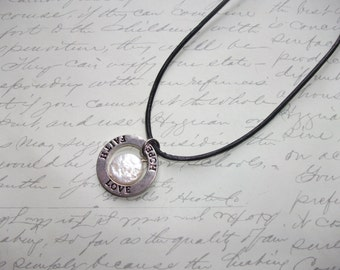 Love faith hope leather necklace with freshwater pearl