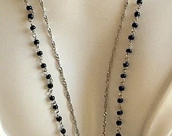 Layered Sterling Silver and Black Rosary Style Chain with Engraved Vintage Heart Necklace - Beautiful