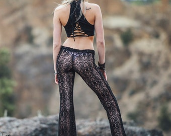 SEXY BLACK CROCHET lace boho gypsy hippie festival beach yoga resort flare leg bell bottom pants