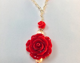 Red Rose and Pearl Pendant| Red Resin Rose Necklace| Roses and Freshwater Pearls Necklace| Bright Red Rose and Pearl Necklace