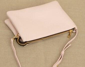 Soft Pink Crossbody Leather Clutch, Silky Italian Leather Clutch, Medium Clutch, Purse
