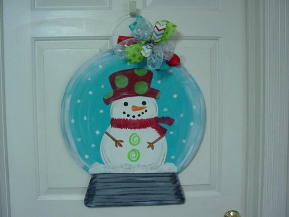 Snow Globe Wood Door Hanger Christmas Snowman Winter Sign