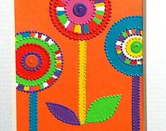 Miniature ACEO original acrylics & sequins. Lollipop flowers on Orange by Artichicks.