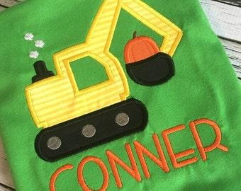 Digger Applique - Fall Applique - Halloween Applique - Pumpkin Applique - Construction Applique - Applique Design - Embroidery Design