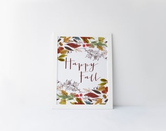 happy fall printable · rustic fall print · autumn wall decor · fall leaves · autumn foliage · harvest time · watercolor fall · fall wall art