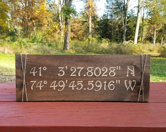 Coordinates Sign - Latitude Longitude Sign - Custom Coordinates - Rustic Home Decor - Travel Theme