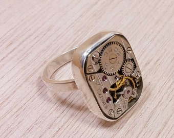 steampunk ring wedding ring mens watch movement upcycled fast shipping free gift box unusual wedding rings - Steampunk Wedding Rings