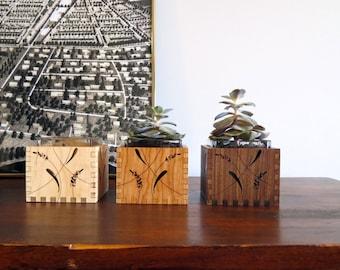Wood Succulent Holder - Engraved Wood Vase - Wood Votive Holder - Wood Candle Holder - Lavender
