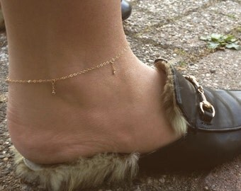 Gold filled anklet with tiny silver CZ diamonds