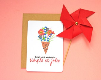 Mother's Day Gift Flower Illustration French Postcard - Free Shipping! Mother's Day / Gift for Mom