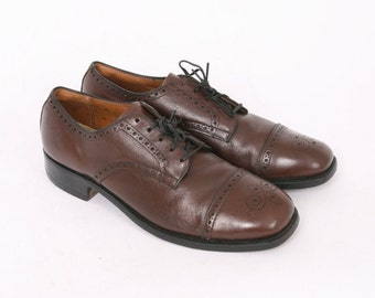 Brown Leather BRITISH WALKER Mens Us 10 Au 9.5 Lace Up WINGTIP Brogue Vintage Oxfords Formal DressMade In Usa Shoes
