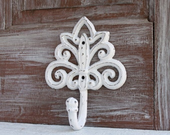 White Wall Hook, Decorative Wall Hook, White Home Decor, Towel Hook, Coat Hook, Bathroom Fixture Cast Iron Hook Shabby Distressed White Hook