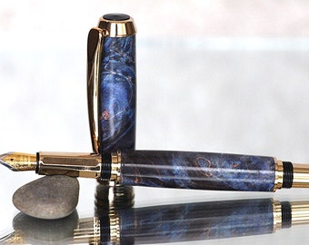 Executive Series Fountain Pen: Dyed Blue Maple Burl With 24kt Gold