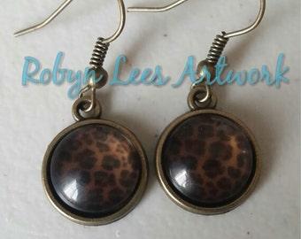 Bronze Leopard Print Glass Cabochon Earrings on Bronze Earring Hooks