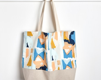 Market Tote Bag in Painted Strokes, Farmers Market Bag, Machine Washable Bag, Packable Tote