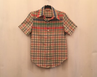 SEARS 70's Plaid Woven Button Up