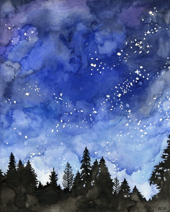 Watercolor Night Sky Painting Print titled
