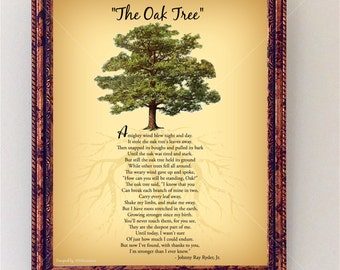 Oak Tree Poem | Encouraging Tree Poem Quote | Nature Wall Art | Inspirational Wall Art Print | Digital Tree | Room Decor INSTANT DOWNLOAD