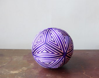 "VINTAGE "" Temari "" Ball , Embroidering Thread Ball , Japanese Art Ball , Modern Geometric Design , Pink&Purple Colors , Hand Crafted , Decor"