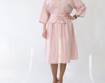 Sale 25% off Vintage 1980s/80s powder pink cotton dress peplum Avant garde High waist Full skirt Summer pastel pink dress Small/Medium