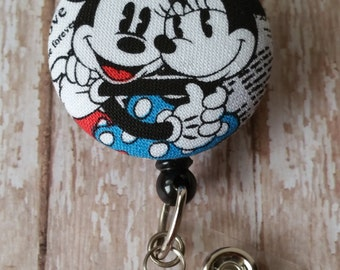 Mickey & Minnie Fabric Button Retractable Badge Reel Holder - Choose With or Without Dangle Beads (see pics) - Flat Rate Shipping!  New Item