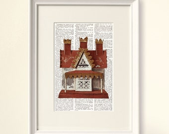 VINTAGE TOY HOUSE Dictionary Art Print, antique doll's house, Nursery decor, nursery wall art, nursery prints, kids decor, baby room, #160