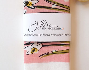 Flowers floral tea towel, linen- pink