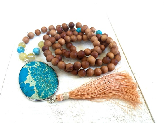 Tassel Mala Necklace,  Agate and Sandalwood Mala, 108 Bead Mala Beads, Meditation Necklace, Tassel Prayer Beads, Turquoise Mala Beads