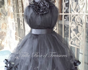 Tied Sleeveless Black/Black Flower Girl Dress with neck tie, Satin Ribbon Trimmed, Black Flower and Sash
