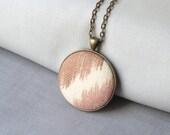Modern boho necklace | beige brown fabric necklace | round button pendant | bohemian style | unique gift idea | eco friendly hippie necklace