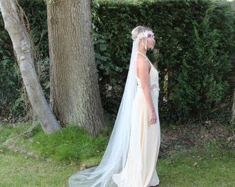 Boho veil, beach wedding veil, English tulle, English net, ivory, white, simple veil, raw edge, Fingertip, Waltz, Floor, Chapel, Cathedral