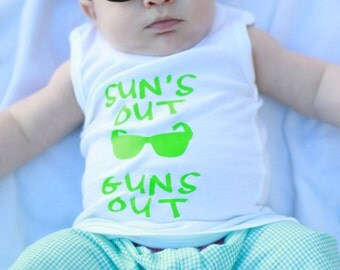 Sun's Out Guns Out Baby / Toddler / Kids Tank Top, Tank top, Sun's out, guns out, summer tank, summer shirt
