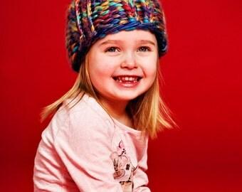 the RAINBOW hat (for kids!)...Vegan knit hat, hand knit, chunky knit, knit toque, knit beanie, knit hat, vegan knit, kid's hat, vegan gift.