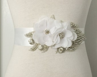 White Bridal Sash-White Flower Sash-White Sash-Wedding Sash-White Bridal Belt-Maternity Sash-Rhinestone White Chiffon Flowers Sash