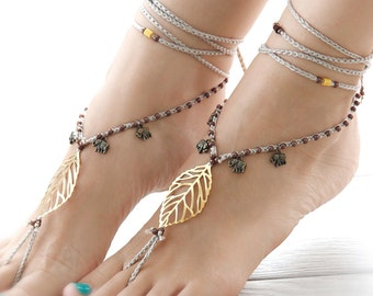 Boho Barefoot Sandals. Golden Beach Style