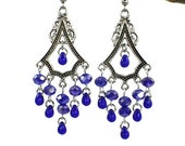 Cobalt Blue Teardrop Chandelier Earrings, Posts, Hooks, Clip ons or Lever back