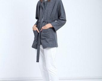 Women Gray sweater , Gray Cardigan , Gray jacket women , designer Cardigan , Kimono style sweater