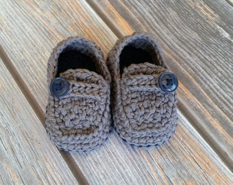 Crochet Baby Boy Shoes - Baby Loafers - Infant Boy Booties - Button Loafers- Baby Boy Booties - Soft Sole Baby Shoes - Size 2 Baby Shoes