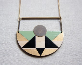 Pistachio green, mint green, black and gold half circle necklace, wooden statement necklace, laser cut and engraved, hand painted jewelry