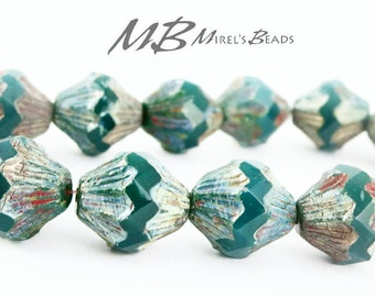 Emerald Green Bicone Beads, 13x11mm Czech Glass Beads