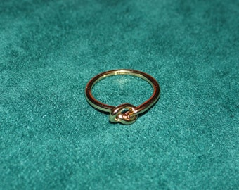Gold Love Knot Ring, 18k Plated