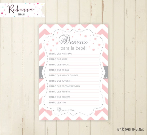 Baby Shower Wishes For Baby In Spanish Deseos Para La Bebe Español Juegos  Baby Shower Printable Espanol Pink And Grey Baby Shower Game 105
