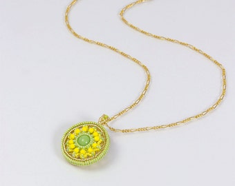 Yellow Round Pendant Necklace, round flower pendant, every day jewelry, summer jewelry, circular pendant necklace, easter gift for her, 375