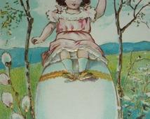 Sweet Little Girl Sits on Top of Giant Egg Easter Fantasy Postcard